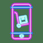 mobile cart pink blue parcel